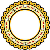 Round frame with bees — Stock Vector