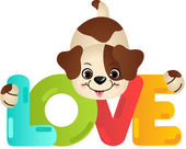 Funny dog on the word love — Stock Vector