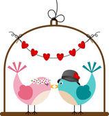 Adorable Couple Wedding Birds — Stock Vector