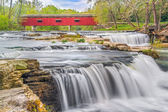 Red Covered Bridge and Whitewater — Stock Photo