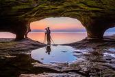 Sea Cave Photographer at Sundown — Stock Photo