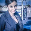 Beautiful elegant exotic woman with sports car — Stock Photo #55267997