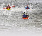 White water rafting kayaking — Stock Photo