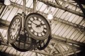 Iconic clock at Waterloo station, London,England — Stock Photo