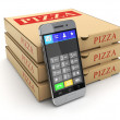 Pizza package and mobile phone — Stock Photo #66715133
