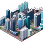 Vector isometric city center map — Stock Vector #53245075