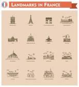 France landmarks icon set — Stock Vector
