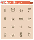 United Kingdom travel icon set — Stock Vector