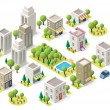 Vector isometric city buildings set — Stock Vector #69536571
