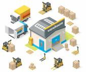 Vector isometric warehouse — Stock Vector