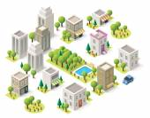 Vector isometric city buildings set — Stock Vector