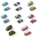 Vector isometric emergency services cars set — Stock Vector
