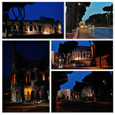 Colosseum. Night ruins of ancient Rome. A set of photos  — Stock fotografie