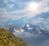 High mountain in a clouds — Stock Photo