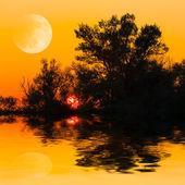Red sky evening scene — Stok fotoğraf