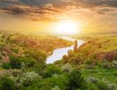 Evening steppe river scene — Stock Photo