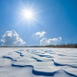 Winter snowbound plain under a sparkle sun — Stock Photo #55476317