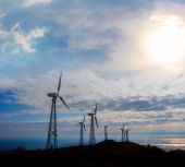 Wind power station scene — Stock Photo