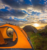Touristic camp at the sunset — Stockfoto