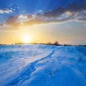 Inverno di sera pianura — Foto Stock