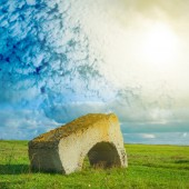 Old structure among a fields — Foto Stock