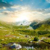山渓谷のサンセット — ストック写真