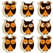 Set of 12 owls with different emotions — Stock Vector #59696255