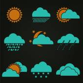 Icon set weather forecast — Stock Vector