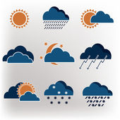 Vector icons weather forecast — Stock Vector
