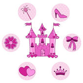 Set for a princess with a castle on a white background — Stock Vector