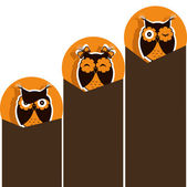 Three icons with brown owl — Stock Vector