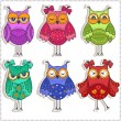 Set of multicolored, beautiful owls — Stock Vector #65175217