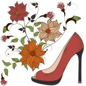 Women's shoes on a beautiful floral background — Stock Vector