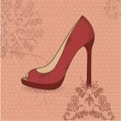 Beautiful female shoes on a red background with a pattern — Stock Vector