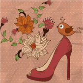 Women's shoes on a beautiful floral background with bird — Stock Vector