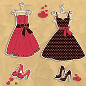 Sample of women's dresses with shoes — Stock Vector