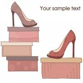 A pair of shoes on the boxes — Stock Vector