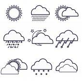 Icon set weather forecast — Stock Vector