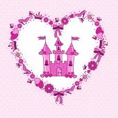 Pink heart of items for the princess from the castle — Stock Vector