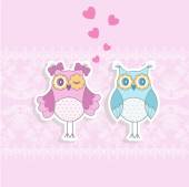Two owls in love on a pink background with a pattern — Stock Vector