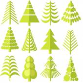 12 green trees of different shapes — Stock Vector