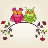 Two beautiful owls on a branch with flowers — Stock Vector