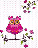 Beautiful girl owl on a branch — Stock Vector