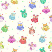 Cute owl seamless pattern. vector — Stock Vector