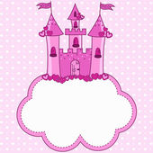 Pink castle for a princess on a cloud — Stock Vector