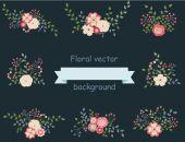 Vintage set of floral design elements — Stock Vector