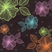 Dark background of colorful flowers — Stock Vector