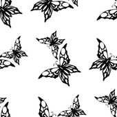 Seamless white background with black butterflies — Stock Vector