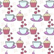 Seamless background with cake and tea — Stock Vector #78450734