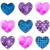 Kalpler boyalı suluboya — Stok Vektör